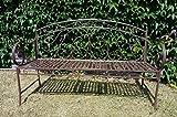 Unbekannt Gartenbank aus Schmiedeeisen mit ausklappbarem Tisch