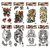 Spestyle waterproof and non toxic tattoo 8pcs mixes fake temp tattoo stickers in a packages,including flowers,tiger,dragon,wolf, snake,elephant and women fake temp tattoo stickers