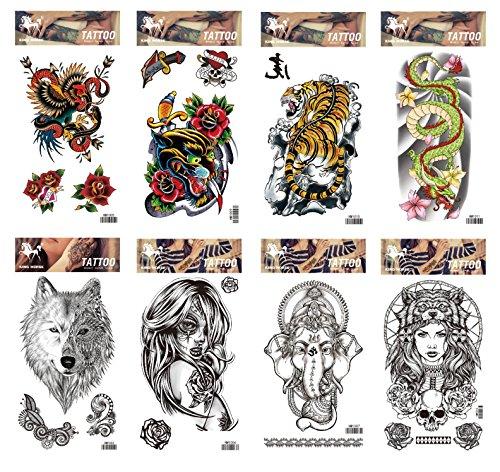 8pcs tatouage le serpent, l'éléphant et les femmes