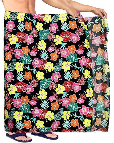 LA LEELA Männer hawaiische Strand Sarong Pareo Badetuch Hibiskus Blumen gedruckt lässig Wrap Schwarz_Y590 78