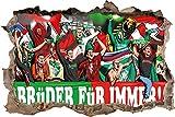 Ultras Rapid& NürnbergFreundschaft, 3D Wandsticker Format: 92x62cm, Wanddekoration