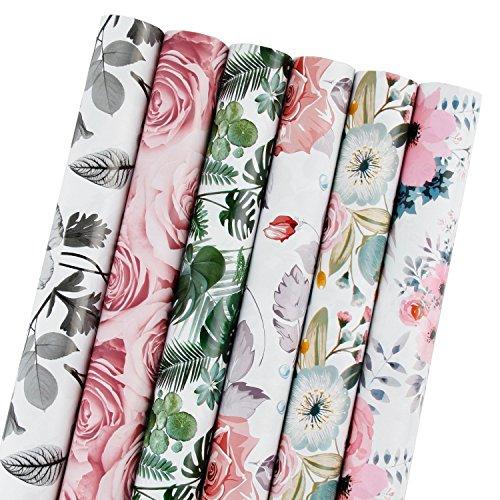 RUSPEPA Geschenkpapierrolle - Schöne Blumenmuster für Geburtstag, Muttertag, Hochzeit, Urlaub Geschenkpapier - 6 Rollen - 76,2 cm X 304,8 cm pro Rolle
