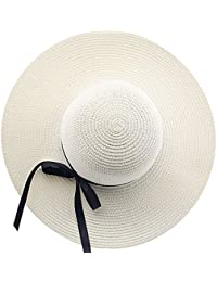 98f7af9473c18 Ocamo Women Wide Brim Straw Knitted Bowknot Beach Cap Floppy Sunscreen Sun  Hat