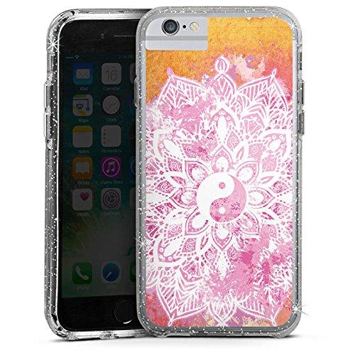 Apple iPhone 6s Bumper Hülle Bumper Case Glitzer Hülle Mandala Yin Yang Sommer Bumper Case Glitzer silber
