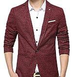 Insun Herren 1 Knopf Design Freizeit Sakko Sportlich Party Blazer Club Sweatjacke Formell Lässig Anzug Rot 54