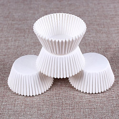 K&C Elegance Baking Cups Value Pack Cup Muffin Kuchen Papier Fall Wraps Cupcake Wrapper 200 Count White & Brown