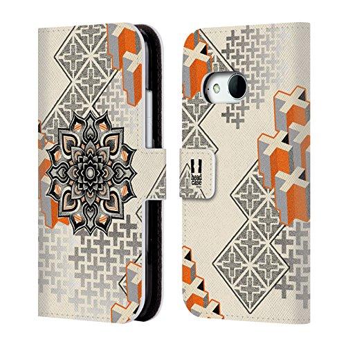 Head Case Designs Mandala E Croce Arte Puntiforme 2 Cover telefono a portafoglio in pelle per HTC One mini 2 - Croce Cucita Arte