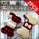 OurWarm 2pcs Christmas Stockings for Dogs, 16.5 Inch Buffalo Plaid Bone Shape with Large Opening Design Pet Stockings for Dogs Christmas Decorations