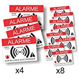 Decooo.be Autocollants dissuasifs Alarme - Surveillance électronique - Lot de 12 (4 grands de 14,8 x 10,5 cm + 8 petits de 7,4 x 5,2 cm)