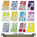 Pochoirs pour signes journalistiques Aoyooh -Règle à modèles de dessin pour décorer carnet, calendrier, agenda, cahiers Leuchtturm et A5-Adapté pour marqueurs à pointe fine (12 pochoirs pour journal)