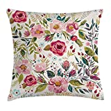 NGDUTZ Floral Throw Pillow Cushion Cover by, Shabby Chic Flowers Roses Petals Dots Leaves Buds Spring Season Theme Image Artwork, Decorative Square Accent Pillow Case, 18 X 18 Inches, Multicolor