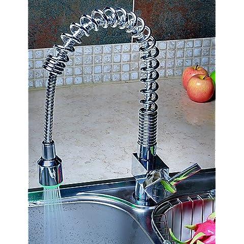 Brass Pull Down rubinetto della cucina con luce led cambia colore - Primavera