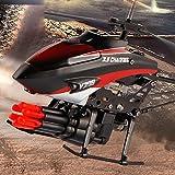 Faironly 2-Motors Mini ferngesteuertes Flugzeug mit 6 Raketen Kinder Kunststoff Hubschrauber Spielzeug rot