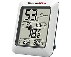 ThermoPro TP50 Hygromètre Numérique Thermomètre Intérieur Thermomètre D'ambiance et Indicateur D'humidité avec Moniteur D'hum