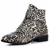 topschuhe24 1350 Damen Nieten Stiefeletten Biker Boots Schnalle, Größe:38, Farbe:Leooptik