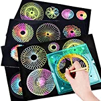 NUOBESTY 11pcs Spiral Stencil Set Drawing Ruler Template Spirograph Set for Kids Art Craft Tools