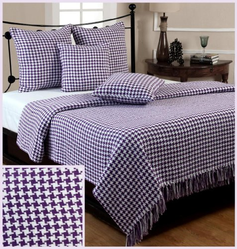Homescapes Extra Large Purple Houndstooth Throw 100 x 140 or 254cm x 355cm, 100% Cotton Bed Throw Blanket for Single, Double and Queen Sized Beds