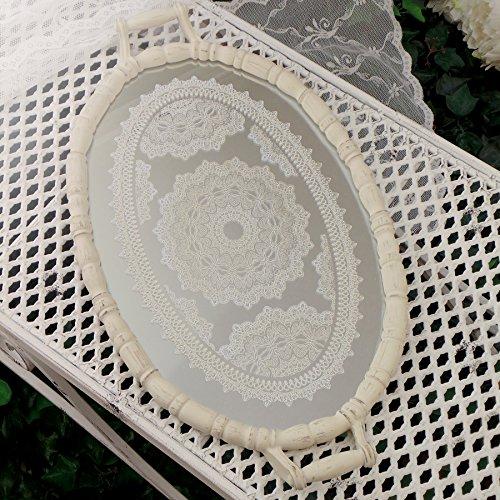 Tablett Spiegeltablett Dekotablett Oval Serviertablett mit Spiegel Landhaus Shabby Chic - Vintage - 51x30 - Antik Elfenbein - Glas / Holz (Oval Elfenbein Spiegel)
