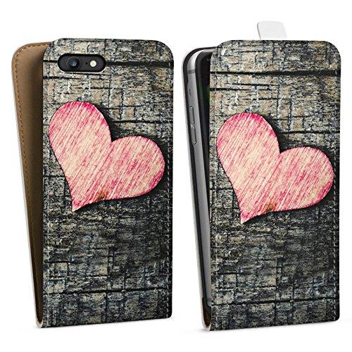 Apple iPhone X Silikon Hülle Case Schutzhülle Herz Love Holz Wood Downflip Tasche weiß