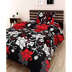 AEROHAVEN 180 TC Microfibre Single 3D Luxury Bedsheet with 1 Pillow Cover – Floral, Black – (Single Bed(60 x 90 inch))