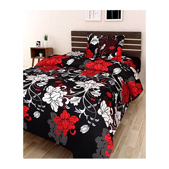 AEROHAVEN 180 TC Microfibre Single 3D Luxury Bedsheet with 1 Pillow Cover (Floral, Black)-Combo
