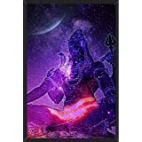 HUNGOVER Paper Lord Shiva Psychedelic Art Work, Framed God Poster (Multicolour, 13x19)