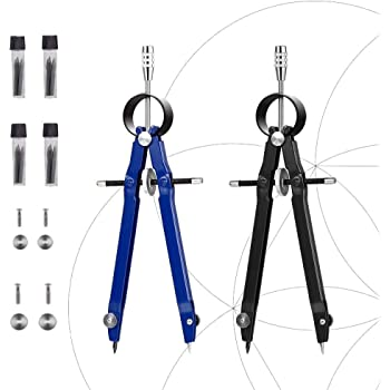 2 Pack Drafting Compass with Lock Math Bow Compass Drawing Metal Compass with CL