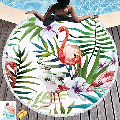 Morbuy Strandtuch Rund 150 Blume, Handwerk Quaste Mikrofaser Strand Yoga Matten Tragbare Tapestry Überwurf Tischdecke Picknickdecke Badetuch Schal Unisex 2 Clips