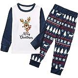 Christmas Family Pajamas Matching Sets Sleepwear Outfits For Dad Mom Kids, Christmas Printed Letter Top+Printed Pants Xmas Fa