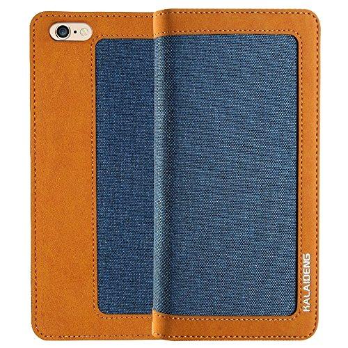 Mobiltelefonhülle - KALAIDENG FUNWEAR X Serie für iPhone 6 Plus & 6s Plus Leinen Leder + TPU Horizontale Flip Leder Tasche mit Card Slots & Halter & Lanyard ( Farbe : Blau ) Blau