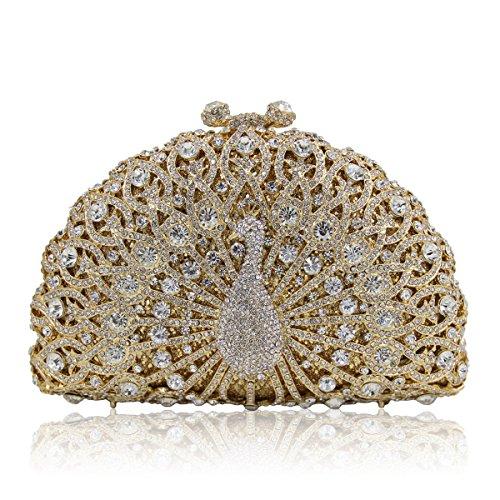 Luxus Nashorn Abendtasche Peacock Handtasche Party Tasche Wallet Golden-B