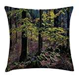 Forest Throw Pillow Cushion Cover, Natural Scenery Trees Autumn Season in Woods Wilderness Rural Growth Eco Photo, Decorative Square Accent Pillow Case,Green Light Pink 20X20 inches
