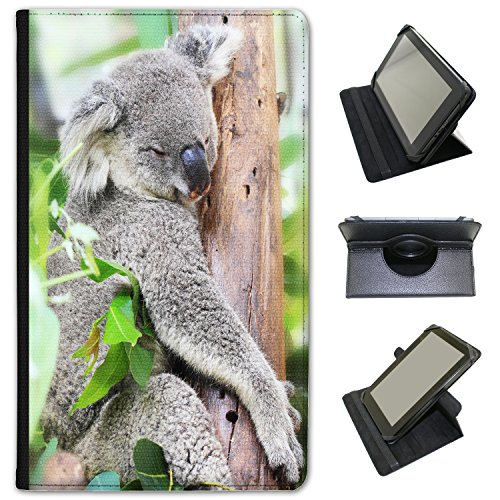 Australian Koala Custodia a Libro in finta pelle con funzione di supporto per tablet Alba nero Grey Koala High In Tree Tops ALBA 7""