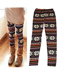 2016 New Snowflake Pattern Girls Winter Warm Knitted Stretchy Thick Leggings Tights Pants Trousers for Girl and Kids