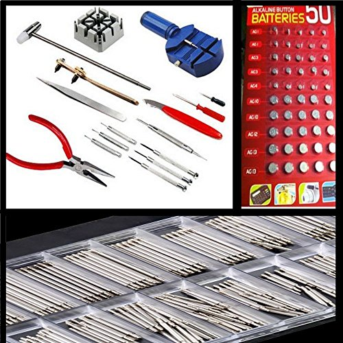Generic qy-uk4-16sep20-10 * 1 * * 5952 WC * * Opener Entferner tchmake Repair Tool Kit 400 Wat 400 Uhrmacher Uhr Reparatur 50 Batterien tteries Spring Pin Bar Bar 50 Batterien (Uhr-batterie-reparatur-kit)