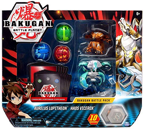 BAKUGAN, Battle Pack 5 Pack, Aurelus Lupitheon & Haos Vicerox, Collectible Cards & Transforming Creatures, for Ages 6 & Up