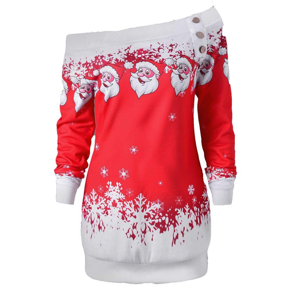 Christmas Tops.Belingeya Cl Wowomen Crop Jumpers Tops Women Christmas Tops Santa Snowflake Print Off The Shoulder Long Sleeve Pullover Sweatshirt Dress Winter Tunic