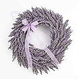 Künstlicher Lavendelkranz auf Rattan, violett, Ø 40 cm - Kunstlavendel / Deko...