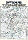 Historische Karte: Post- und Eisenbahn-Reisekarte DEUTSCHLAND, 1851 (Plano): Mit Holland, Belgien, die Schweiz, Italien bis Neapel, der größte Theil von Frankreich, Ungarn, Polen etc.