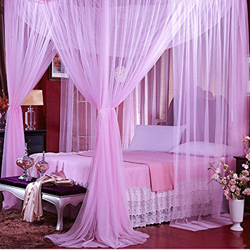 Baldachin Net Rosa (Jeteven Betthimmel Mückenschutz Insektennetz Bettvorhänge für Einzel- Doppelbetten,190*210*240cm Lila)