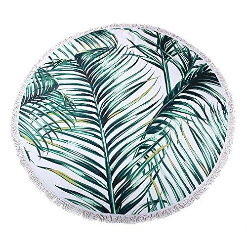 Chezmax spessore rotonda da spiaggia coperta con frangia in morbida microfibra circle picnic tappetino yoga green leaves