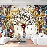 Fototapete Gustav Klimt - Baum des Lebens 352 x 250 cm Vlies Wand Tapete Wohnzimmer Schlafzimmer Büro Flur Dekoration Wandbilder XXL Moderne Wanddeko - 100% MADE IN GERMANY - Gelb Runa Tapeten 9219011a