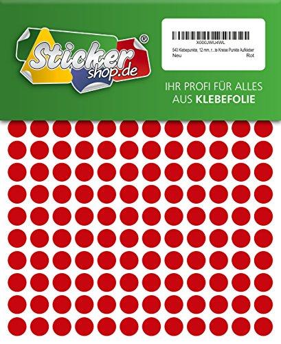 WP Klebepunkte - Juego de 540 puntos adhesivos (12 mm), color rojo, de PVC, impermeables