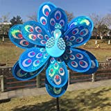 #5: Sellify New Double Layer Blue color Peacock Laser Sequins Windmill Colorful Wind Spinner Garden Toy for Garden Decor Garden Ornaments