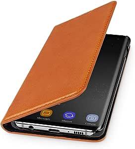 Wiiuka Echt Ledertasche Travel Hülle Für Samsung Galaxy S10 Mit Kartenfach Extra Dünn Tasche Cognac Braun