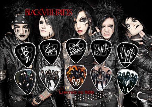 Black Veil Brides Signed Autograph Chitarra Pick Plettri Display (Limited to 500 Prints)