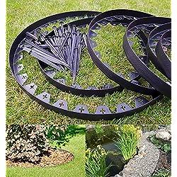 Bordure de jardin En plastique flexible Noir 10 mètres Avec 50 piquets solides Bordure de pelouse Bordure de pelouse flexible Bordure de gazon en plastique Idées de jardin Décoration de jardin