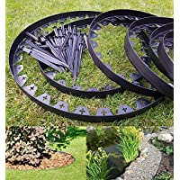 10 Metres Of BLACK Flexible Plastic GARDEN EDGING With 50 STRONG Securing  Pegs / Anchors,