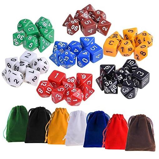 Kuuqa-49-Stck-Polyedrische-Wrfel-7-Farbe-Komplettset-Spiel-Wrfel-Fr-Party KUUQA 49 Stück Polyedrische Würfel 7 Farbe Komplettset Spiel Würfel Für Party -