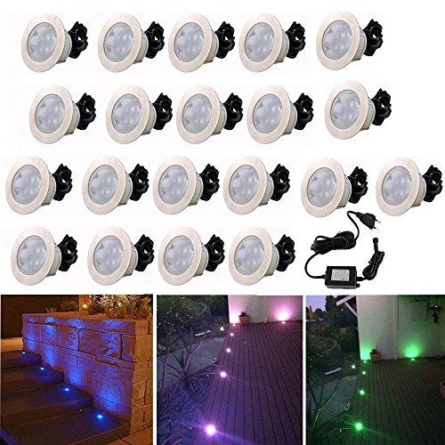 Lot de 20 Lampe de Spot Encastrable RGB LED pour Terrasse Patio Extérieur avec Télécommande Dimmable, DC 12V IP67 Etanche Lumière Spots à Encastrer Acier inoxydable Déco pour Plafond Chemin autour de Piscine
